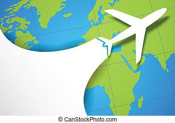 mapa, indo, avião, terra