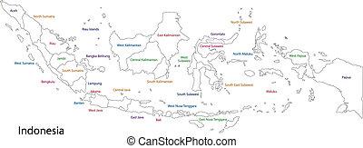 mapa, indonesia, contorno