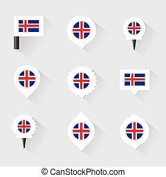 mapa, infographic, bandeira islândia, desenho, alfinetes