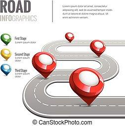 mapa, infographic., estrada, negócio