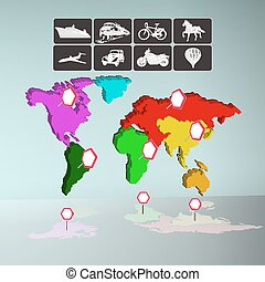 mapa,  infographics, transporte, mundo, iconos