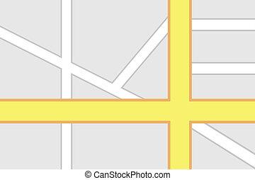 mapa, intersección, camino