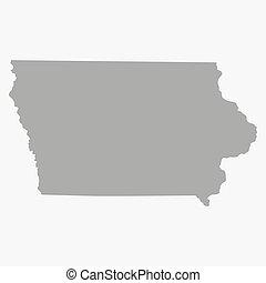 mapa, iowa, gris, estado, plano de fondo, blanco
