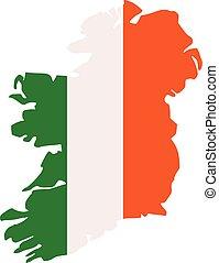 mapa, irlandés, silueta, colores, bandera, irlanda