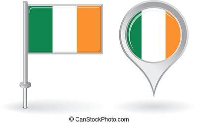mapa, irlandês, alfinete, flag., vetorial, ponteiro, ícone