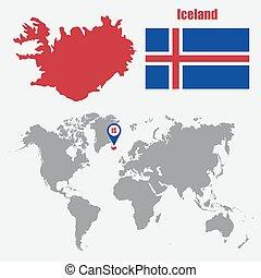 mapa, islândia, ilustração, bandeira, vetorial, pointer., mundo