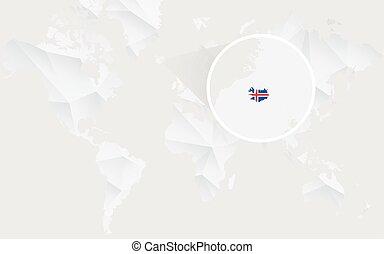 mapa, islândia, map., polygonal, bandeira, mundo, branca, contorno