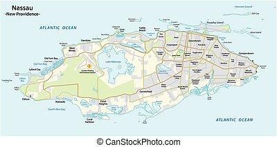 mapa, isla, nassau, bahamas, providencia, capital, nuevo