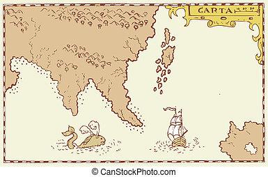 mapa, isla, tesoro, vendimia, barco alto, ballena