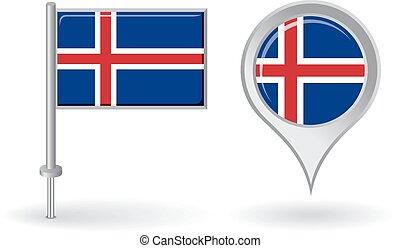 mapa, islandês, alfinete, flag., vetorial, ponteiro, ícone
