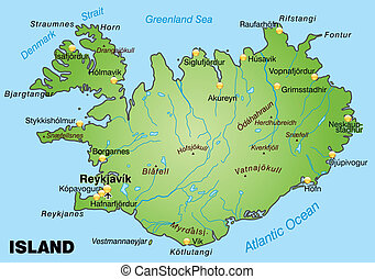 mapa, islandia
