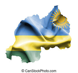 mapa, isolado, bandeira acenando, ruanda, branca