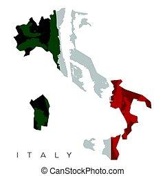 mapa, isolado, italiano