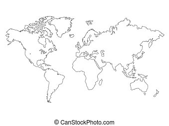 mapa, isolado, mundo