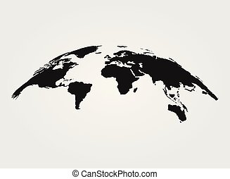 mapa, isolado, vetorial, experiência preta, mundo, branca