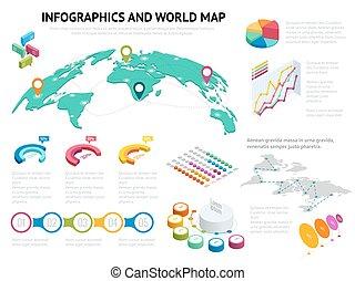mapa, isométrico, conjunto, empresa / negocio, elements., grande, iconos, gráficos, ilustración, informes, vector, diseño, presentaciones, infographics, mundo, datos, elementos