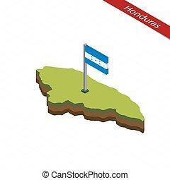 mapa, isométrico, honduras, illustration., flag., vector