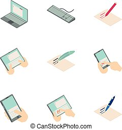 mapa, isométrico, iconos, conjunto, estilo, en línea