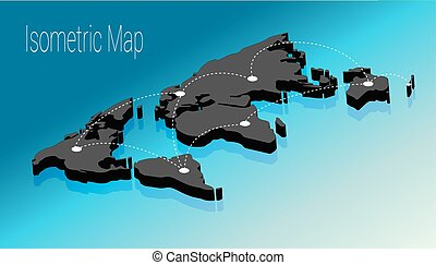mapa, Isométrico, plano, concepto, Ilustración, mundo,  3D