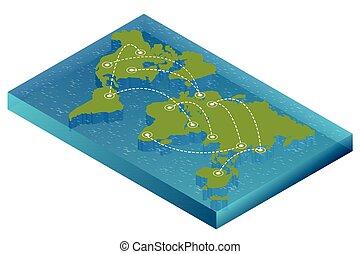 mapa, Isométrico, plano, concepto, político,  EPS, Ilustración, conexión,  vector, diseño, plantilla,  infographics, mundo, mundo,  infographic,  3D