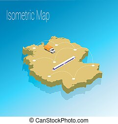 mapa, isometric, alemanha, concept.