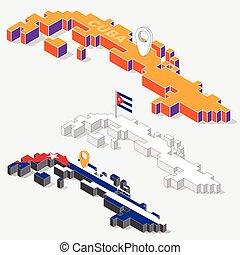 mapa, isometric, bandeira cuba, isolado, ilustração, elemento, fundo, forma, vetorial, 3d