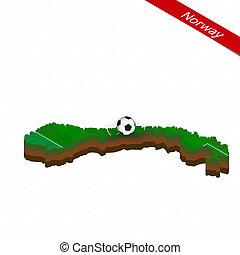 mapa, isometric, bola, centro, futebol, field., futebol, noruega, pitch.