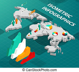 mapa, isometric, negócio mundo, infographics