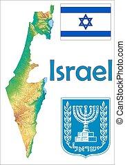 mapa,  israel, bandera, chamarra