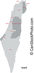mapa, israel, gris
