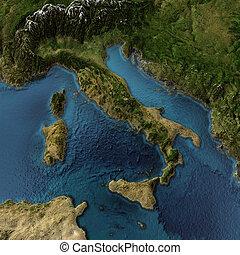 mapa, itália, 3d