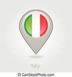 mapa, itália, alfinete, ilustração, bandeira, vetorial, ícone