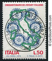 mapa, itália, emblema, rotativo