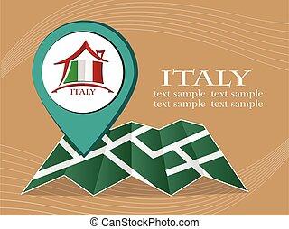 mapa, itália, eps, ilustração, bandeira, vetorial, 10., ponteiro