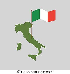 mapa, itália, flag., isolado, estado, italiano, geografia