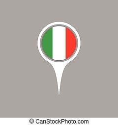mapa, itália, illustration., bandeira, vetorial, localização, ícone