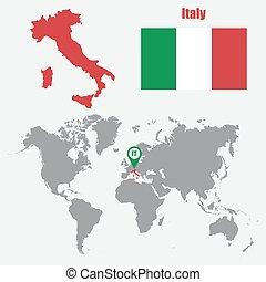 mapa, itália, ilustração, bandeira, vetorial, pointer., mundo
