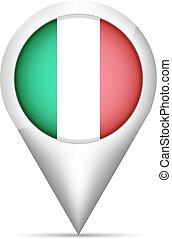 mapa, itália, ilustração, bandeira, vetorial, ponteiro, shadow.