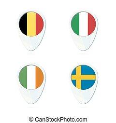 mapa, itália, suécia, irlanda, bélgica, icon., flag., ponteiro