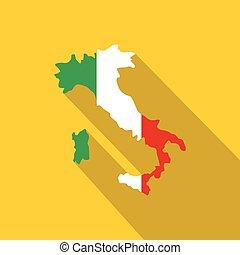 mapa, italia, bandera nacional, colores, icono