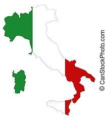 mapa italia, con, bandera