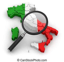 mapa, italia, loupe