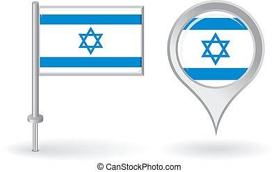 mapa, izraelita, szpilka, flag., wektor, wskazówka, ikona