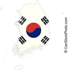 mapa, jádro, korea, prapor, jih