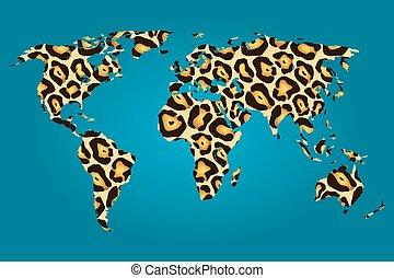 mapa, jaguar, wypełniony, świat, próbka