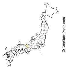 mapa, -, japón, kyoto