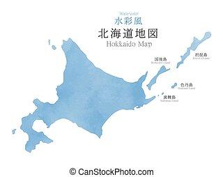 mapa, japón, textura, región, acuarela, hokkaido
