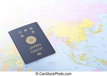 mapa, japoneses, passaporte, mundo