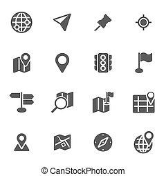mapa, jogo, ícones, vetorial, experiência preta, branca