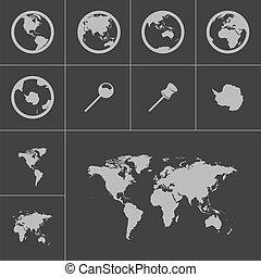 mapa, jogo, ícones, vetorial, pretas, mundo